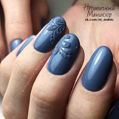 Round Nails, Oval Nails, Fancy Nails, Pretty Nails, Hair And Nails, My Nails, Nagel Gel, Fabulous Nails, Blue Nails