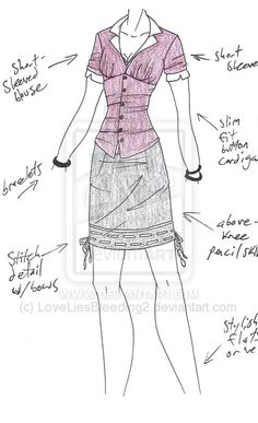 a simple blouse, cardigan and skirt ens. Other Outfits, Short Outfits, Cool Outfits, Dress Drawing, Drawing Clothes, Outfit Drawings, Dress Sketches, Fashion Sketches, Cosplay Outfits