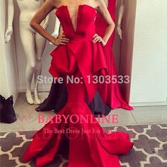 New Arrival 2014 Hot Sale Elegant Long Mermaid Ruffles Red Sexy Backless Slim Prom Party Dress Evening Gown