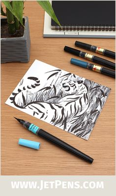The Pentel Standard Brush Pens feature nylon brush tips and aqueous dye-based ink that are great for painting or sketching on the go.