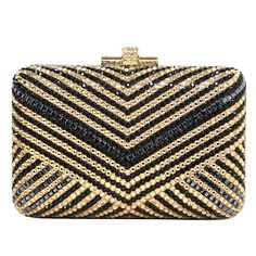 JUDITH LEIBER Black & Gold Crystal Chevron Minaudiere Clutch Bag rt $1,995 | From a collection of rare vintage evening bags and minaudières at https://www.1stdibs.com/fashion/handbags-purses-bags/evening-bags-minaudieres/