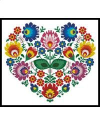 This counted cross stitch pattern of a Polish Folk Heart was created from an image by redkoala. Only full cross stitches are used in this pattern. It is a black and white symbol pattern.