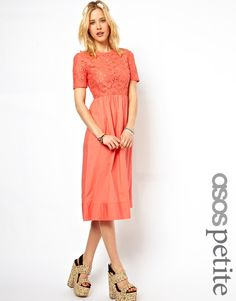 Dress exclusive to the ASOS PETITE collection \n\n-\nMade from 100% pure cotton\n\n-\nRound neckline\n\n-\nFloral lace top with a concealed zip fastening\n\n-\nFlattering, high waist\n\n-\nFlared skirt with gathered pleat detail \n\n-\nRegular fit\n\n\n\nABOUT ASOS PETITE EXCLUSIVE\n\nASOS PETITE brings forth an exclusive, trend-led collection specifically designed to fit women of 5'3/1.60m and under.  We have taken key pieces and best-selling styles from our mainline collection, updating…