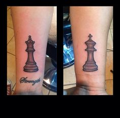 My boyfriend & I just got these tattoos. King & Queen chess pieces. He's my king & I'm his queen :)