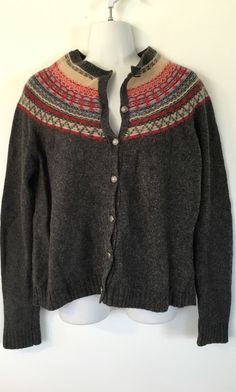 Eddie Bauer Gray Wool Blend Cardigan size L Red Blue Pattern Sweater Warm #EddieBauer #Cardigan