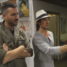 Ian Somerhalder hanging out with friend Bryn at RYOT News Headquarters in Venice CA