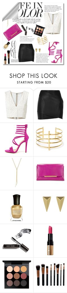 """Hot Pink  and Lace"" by spnfancurl on Polyvore featuring Alice + Olivia, River Island, Liliana, BauXo, B Brian Atwood, Deborah Lippmann, Alexis Bittar, Bobbi Brown Cosmetics, MAC Cosmetics and M.O.T.D Cosmetics"