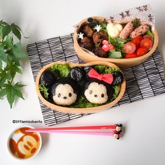Mickey Minnie Tsum Tsum Bento By Little Miss Bento, Shirley Wong Cute Bento Boxes, Bento Box Lunch, Kawaii Bento, Bento Recipes, Japanese Sweets, Sushi Rolls, Little Miss, Food Art, Kids Meals