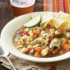 Simple chicken posole (under 300 calories!) #slowcook #recipes