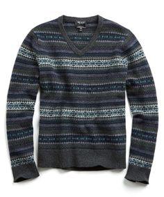 Wool Fairisle Vneck Sweater in Grey