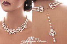Bridal backdrop necklace GOLD crystal wedding by RomantiqueStudio