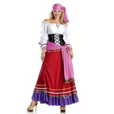 Tempting Gypsy Adult Womens Costume Price: $98.00  5 Piece Tempting Gypsy includes Long sleeve peasant top maxi skirt waist cincher shawl scarf. (Earrings and bangles not included)  Great for Halloween faires or festivals.  #cosplay #costumes #halloween