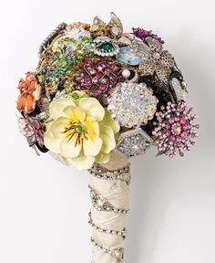 Broach Bouquet! Great way to have a little piece of your family and friends on your wedding day.