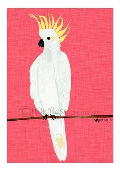 Sulphur Crested Cockatoo ART PRINT Australian Birds Bird Drawings, Cartoon Drawings, Realistic Bird Tattoo, Funny Bird, Australian Parrots, Creative Workshop, Tropical Art, Bird Illustration, Bird Pictures