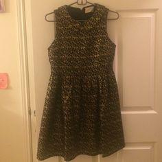 Black and gold collared dress Beautiful black and gold dress with collar. Thick material. Dresses Mini