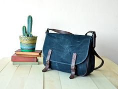 Waxed Canvas Messenger Bag in Black  Leather Strap  by metaphore, $95.00