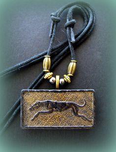 Vintage (1950's) GREYHOUND DOG embossed DOMINO Jewelry Pendant Necklace