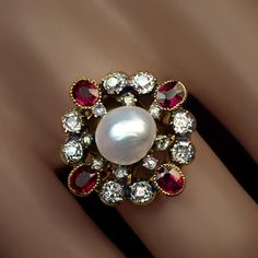 Antique Pearl Ruby Diamond Renaissance Revival Ring | From a unique collection of vintage cocktail rings at https://www.1stdibs.com/jewelry/rings/cocktail-rings/