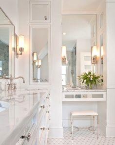 Oversized medicine cabinet, recessed medicine cabinet, large mirrors, chrome, marble, bath, renovation, restoration hardware vintage fixtures
