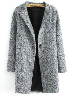 Grey Long Sleeve Single Button Tweed Coat -SheIn(Sheinside) Mobile Site