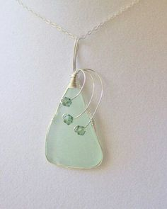 Sea Glass Necklace Sea Glass Jewerly  Sterling by NauticalSeaGlass