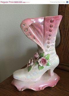 Vintage porcelain shoe vase