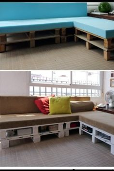 A sectional couch made out of foam, fabric, cinder blocks and planks