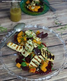 Beetroot, pumpkin haloumi salad, is delicious and looks just as impressive as a restaurant dish. It has enough gorgeous ingredients to make everyone happy Veggie Recipes, Salad Recipes, Vegetarian Recipes, Cooking Recipes, Veggie Meals, Haloumi Salad, Pumpkin Salad, Warm Salad, Restaurant Dishes