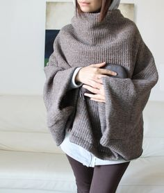 Poncho wool knitted poncho italian wool sweater by Afycollection #etsy
