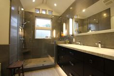 Picturesque Black Wood Vanities Bath Panels With Three Drawers And Doors Also White Granite Tops Single Sink As Well As Sweet Plafond Lighting Over Shower Cubicle Glass And Free Standing Head Showers In Small Master Bathroom Design Ideas