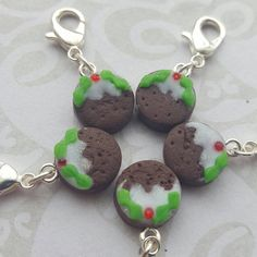 Progress keepers for knitting, crochet and crafts, christmas pudding, novelty  stitch markers, seasonal knitting  accessory by chapelviewcrafts on Etsy