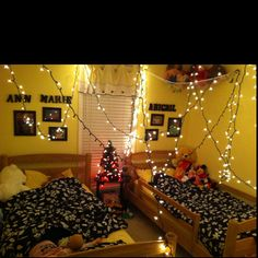Our elf and my niece's elf teamed up while they were sleeping and strung Christmas lights ALL around their room! ;)