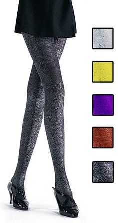 Glitter Tights for roller derby, black, gold and silver in stock!