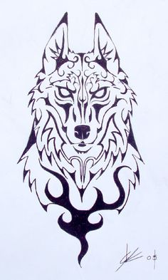 DeviantArt: More Like Tribal wolf tattoo - SVG by alphaloup Wolf Tattoo Design, Tribal Wolf Tattoo, Wolf Tattoo Sleeve, Tribal Sleeve Tattoos, Wolf Design, Skull Tattoo Design, Tribal Tattoo Designs, Clock Tattoo Design, Chest Piece Tattoos