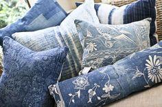 vintage indigo pillows Rough Luxe Lifestyle vintage indigo textile love