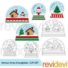 Snow globes clip art. Various Xmas Snowglobes clipart set includes 4 colored graphics and another 4 in black and white version. Great for Christmas theme classroom and school projects!Great resource for any school and classroom projects such as for creating bulletin board, printable, worksheet, classroom decor, craft materials, activities and games, and for more educational and fun projects.You will receive:- Each clipart saved separately in PNG format, 300 dpi with transparent background…