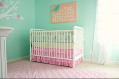 I love this so much for my little pea pod!  Girly vintage turquoise nursery - Google Search