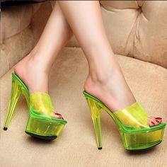 3Colors Cosplay Fluorescence High Heel Shoes Slipper Sandals Open Toe Crystal