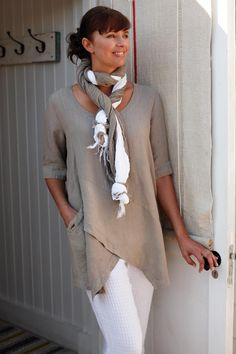 Tops | Linen Asymmetric Tunic at Sahara. Asymmetrical hems shift focus away from the area formerly known as my waistline.