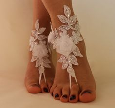 FREE SHİPP White Lace Barefoot Sandals Wedding