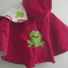 Frogs--Pink with and green with hoodie hood from B's Bounty/Osm Children's Capes for $55.00