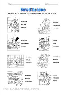 parts of the house worksheets for preschool - Buscar con Google