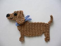 Dachshund with kerchief - Häkelapplikation - Handarbeiten - Schmuck Crochet Applique Patterns Free, Crochet Motifs, Hand Embroidery Patterns, Crochet Chart, Crochet Stitches, Crochet Home, Knit Crochet, Motifs D'appliques, Crochet Vintage