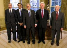 President George W. Bush (center), meets with (from left) former President George H. Bush, President-elect Barack Obama, and former Presidents Bill Clinton and Jimmy Carter in the Oval Office on January This picture is in the public domain. Happy Presidents Day, Past Presidents, Black Presidents, Greatest Presidents, American Presidents, American Soldiers, Barack Obama, Jimmy Carter, First Black President