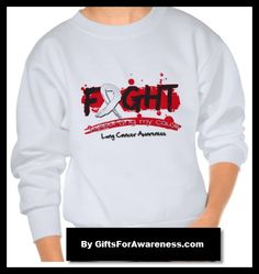 Lung Cancer FIGHT motto on shirts, apparel, tees and gifts by www.giftsforawareness.com #lungcancer #cancerawareness #awareness