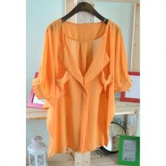 Women's Chiffon Shirt With V-Neck Bat-Wing Short Sleeve Flounce Design (ORANGE,ONE SIZE) China Wholesale - Sammydress.com