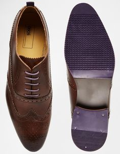 €66.18 - UK9.5, 9 - full leather lining - Image 3 of ASOS Brogue Shoes in Brown Leather With Coloured Tread