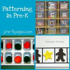 teaching pattern skills in preschool ----- Books and activities that encourage patterning. Preschool Centers, Preschool Lessons, Preschool Kindergarten, Teaching Math, Preschool Crafts, Teaching Ideas, Teaching Patterns, Math Patterns, Fun Math