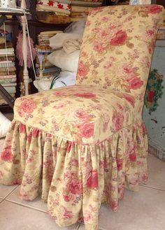shabby chic slipcovers for loveseats | Cottage by Design with Trish Banner: Parsons chair ruffled slipcover