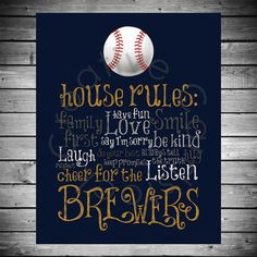 Milwaukee Brewers House Rules - 8x10 INSTANT Digital Copy